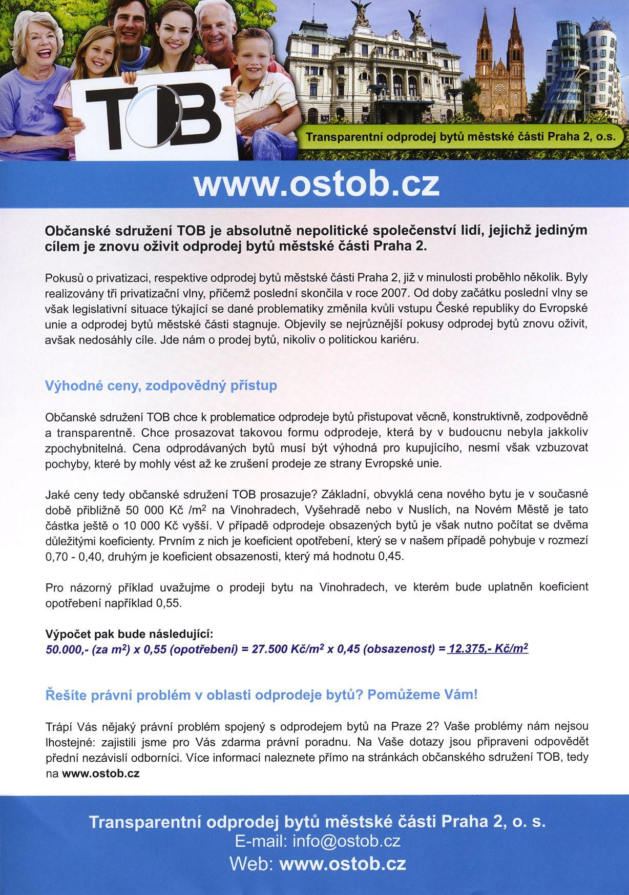 volební leták OSTOB
