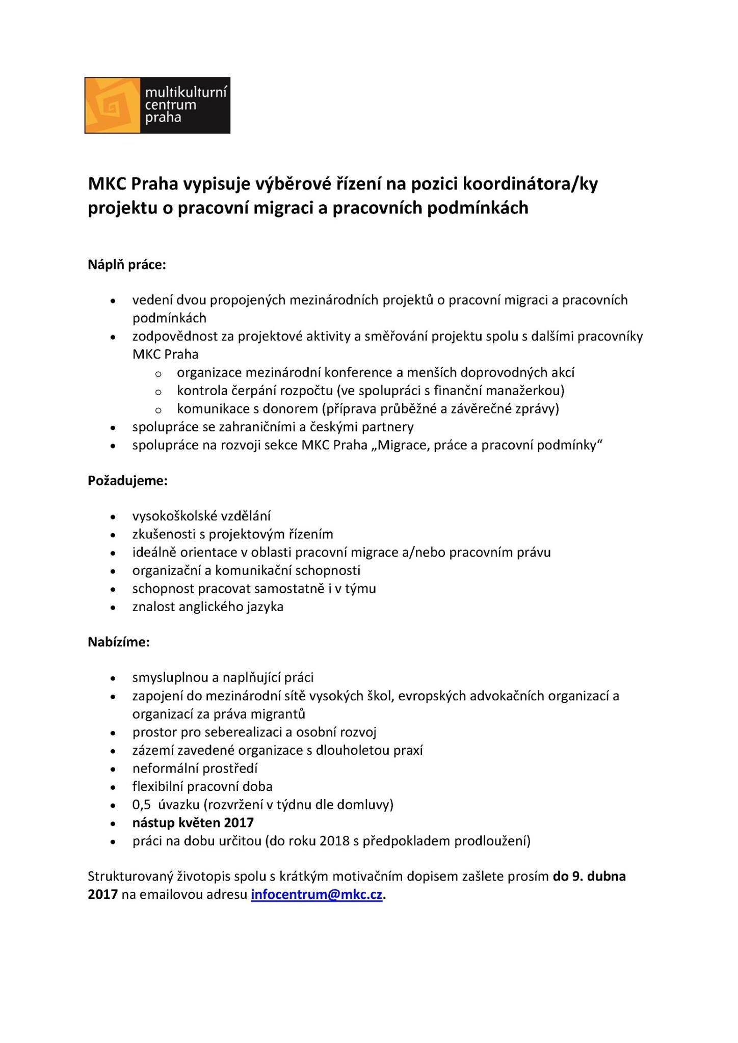 Mkc Vypisuje Vyberove Rizeni Na Pozici Koordinatora Ky Projektu O