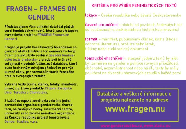 FRAGEN – FRAMES ON GENDER
