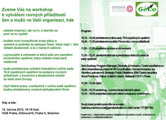 Pozvánka na workshop k vytváření rovných příležitostí žen a mužů ve Vaší organizaci