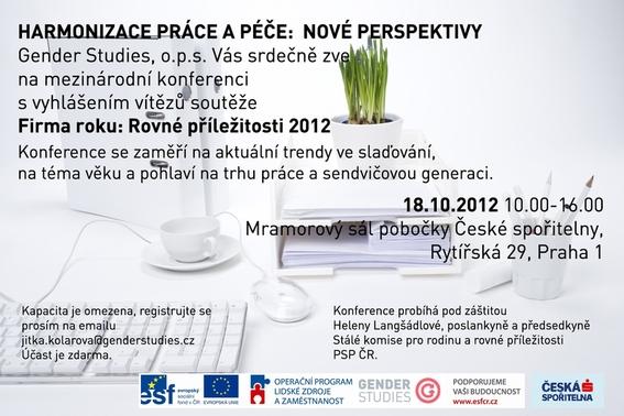 Pozvánka na konferenci Harmonizace práce a péče: Nové perspektivy