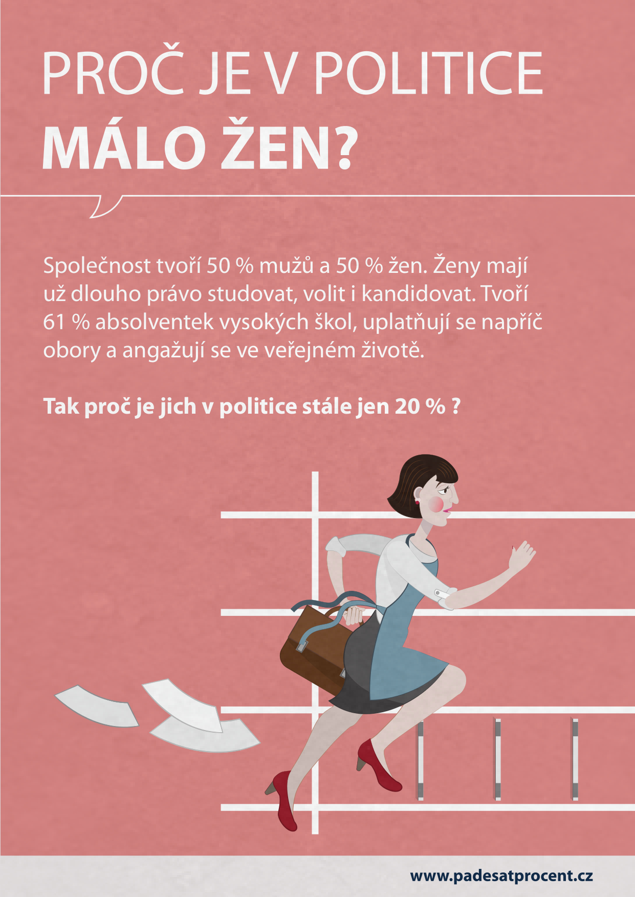 Obálka brožury Proč je v politice málo žen (Fórum 50 %)