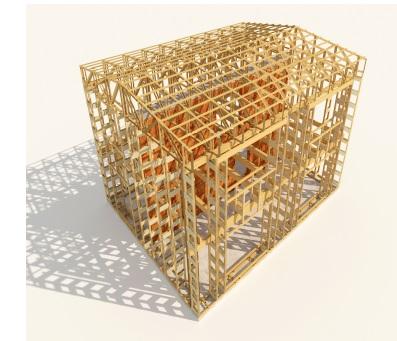 """Nosný dřevěný skelet obvodového pláště a stropů dvoupodlažního optimalizovaného """"nulového (s potřebou tepla na vytápění pod 5 kWh/m2rok)"""" domu o půdorysu 11,5 m x 9 m umožňující velmi jednoduché uložení 500 mm levné minerální vaty do obvodových stěn a 660 mm do střechy. Náklady na postavení dřevěného skeletu jsou zhruba 100 tisíc Kč a dva týdny práce pro dva lidi. Všechny vazníky (40 ks. stěnových a 22 ks. střešních) jsou již při jejich výrobě vyplněny minerální vatou (není znázorněno). Jednoduchá výroba jednoho vazníku trvá dvěma lidem asi 20 minut a zabudování další minerální vaty do pravoúhlých dutin mezi vazníky je časově nenáročné. Minerální vata o objemu 200 m3 na zateplení celého obvodového pláště vyjde na pouhých 80 tisíc Kč (aktuálně pro rok 2018)."""