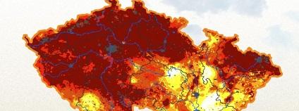 Odchylka sucha od obvyklého stavu v období 1961 - 2010. / Na mapě sucho v roce 2010.