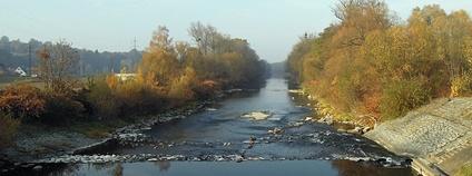 Řeka Bečva protékající mezi Valašským Meziříčím a Juřinkou Foto: Radim Holiš Wikimedia Commons
