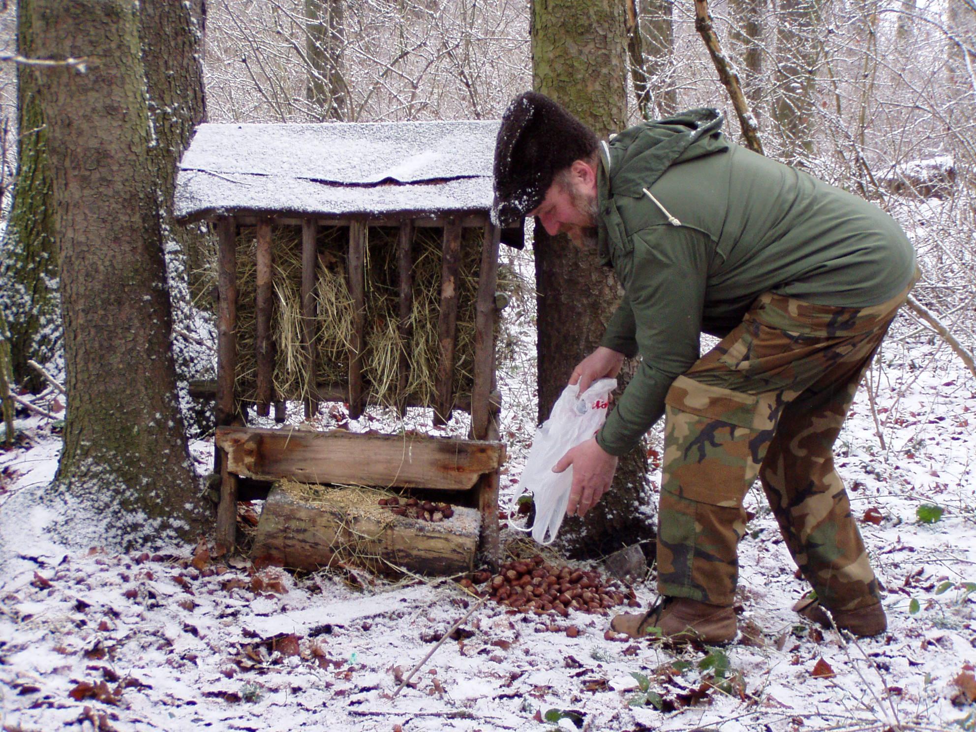 Ochránce přírody Karel Jakubek při přikrmování volně žijících živočichů.