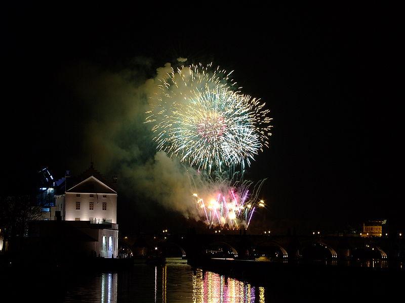 Novoroční ohňostroj na Malé Straně, Praha