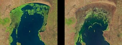 Jezero Chilwa v říjnu 1990 a listopadu 2013. Foto: U.S. Geological Survey Flickr