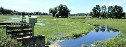 Stavidlo Enkláda  v protipovodňové hrázi umožňující řízené zaplavování – níže vpravo zatopená část Košárských  luk.