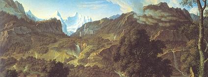 Bernské Alpy na malbě Josepha Antona Kocha z roku 1815