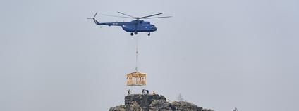 Altán na Mariinu vyhlídku vynesl vrtulník Foto: Václav Sojka NP České Švýcarsko