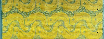 Závěsová tkanina sdezénem Tanec pstruhů, návrh Koloman Moser, výroba J. Backhausen & Söhne, Vídeň, před 1904
