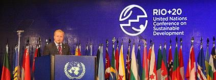 Konference Rio+20. Na snímku český ministr Tomáš Chalupa při projevu na plénu. Foto: Jan Stejskal / Ekolist.cz