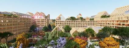 Návrh španělského architektonického ateliéru Guallart na post-covidové soběstačné bydlení v Číně. Foto: designboom Vimeo.com