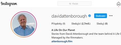 Instagramový profil Davida Attenborougha
