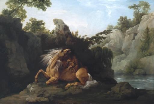 """Obraz George Stubbse """"Horse Devoured by a Lion"""" (česky """"Lev požírající koně""""), vystaveno 1763"""