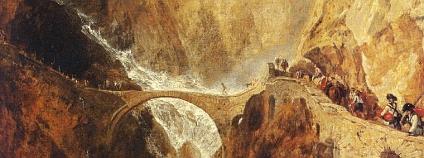J. W.M. Turner: Ďáblův most v průsmyku Sv. Gottharda, kolem 1803-4.