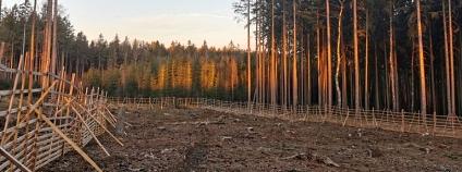 Holina s dřevěným oplocením připravená k výsadbě, autor