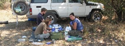 Zpracování vzorků v provizorních podmínkách v Africe Foto: Telmo António AV ČR