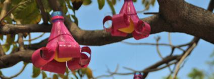 Plastové květy na stromě